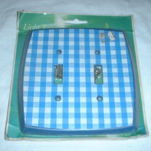 Vintage blue plaid checkered light switch cover